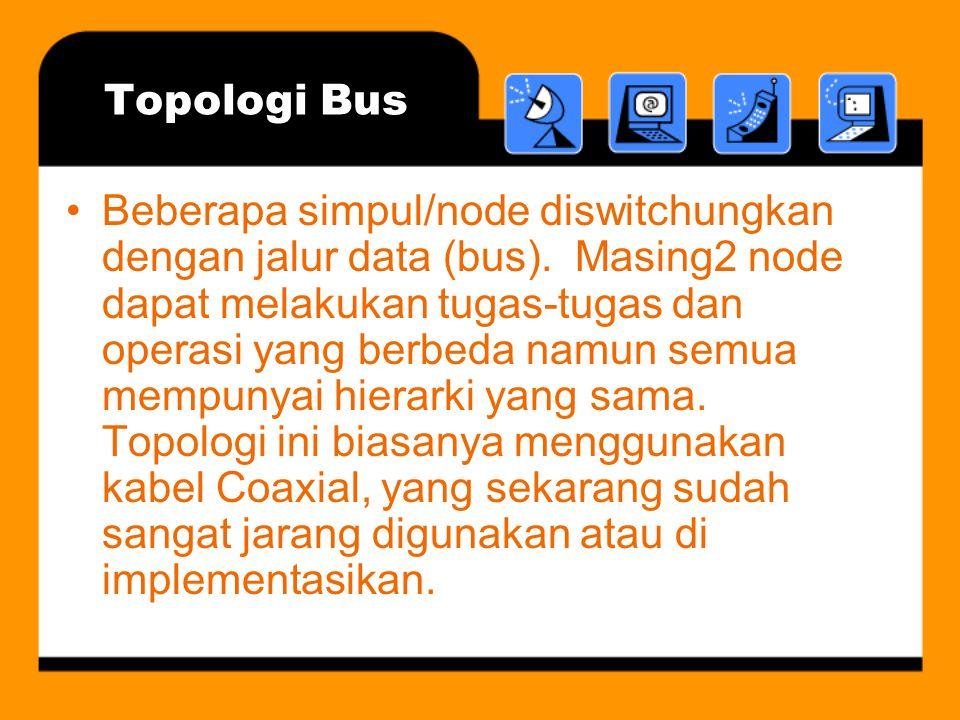 Topologi Bus •Beberapa simpul/node diswitchungkan dengan jalur data (bus).