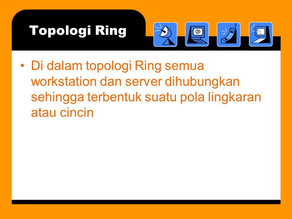 Topologi Ring •Di dalam topologi Ring semua workstation dan server dihubungkan sehingga terbentuk suatu pola lingkaran atau cincin