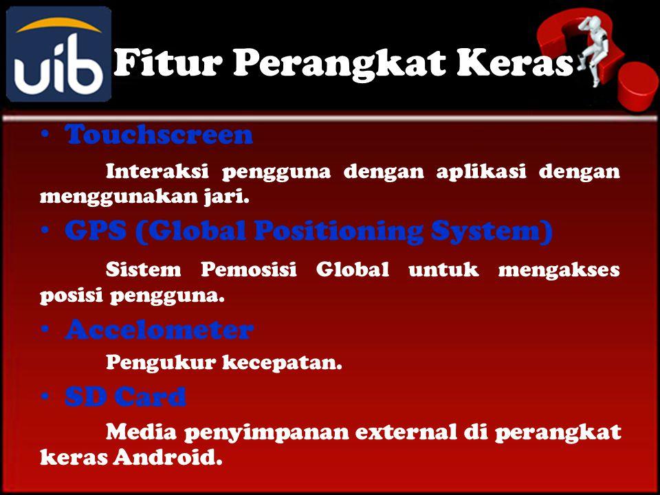 Fitur Perangkat Keras • Touchscreen Interaksi pengguna dengan aplikasi dengan menggunakan jari.