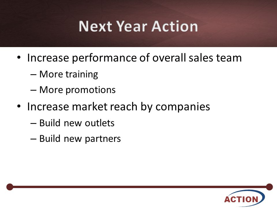 • Increase performance of overall sales team – More training – More promotions • Increase market reach by companies – Build new outlets – Build new partners