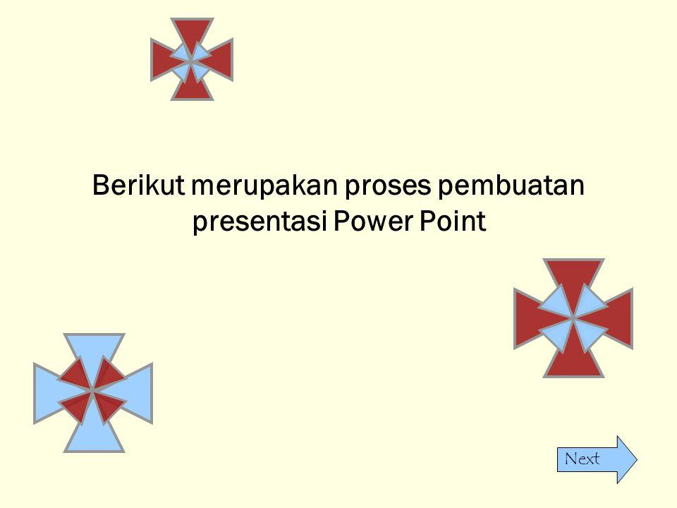 Next Berikut merupakan proses pembuatan presentasi Power Point