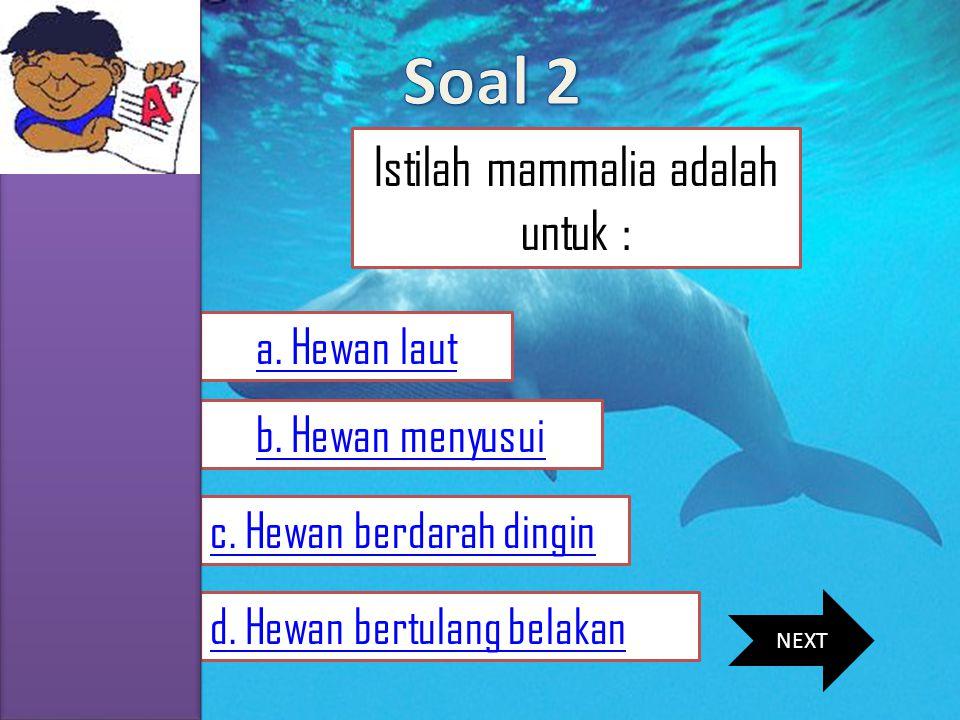 MENU SKKD SIMULASI SOAL MATERI VIDEO PROFIL Istilah mammalia adalah untuk : a. Hewan laut d. Hewan bertulang belakan b. Hewan menyusui c. Hewan berdar
