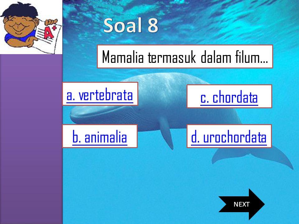MENU SKKD SIMULASI SOAL MATERI VIDEO PROFIL a. vertebrata c. chordata d. urochordatab. animalia Mamalia termasuk dalam filum… NEXT