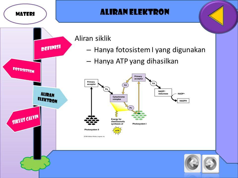 MATERI Aliran elektron Aliran siklik – Hanya fotosistem I yang digunakan – Hanya ATP yang dihasilkan