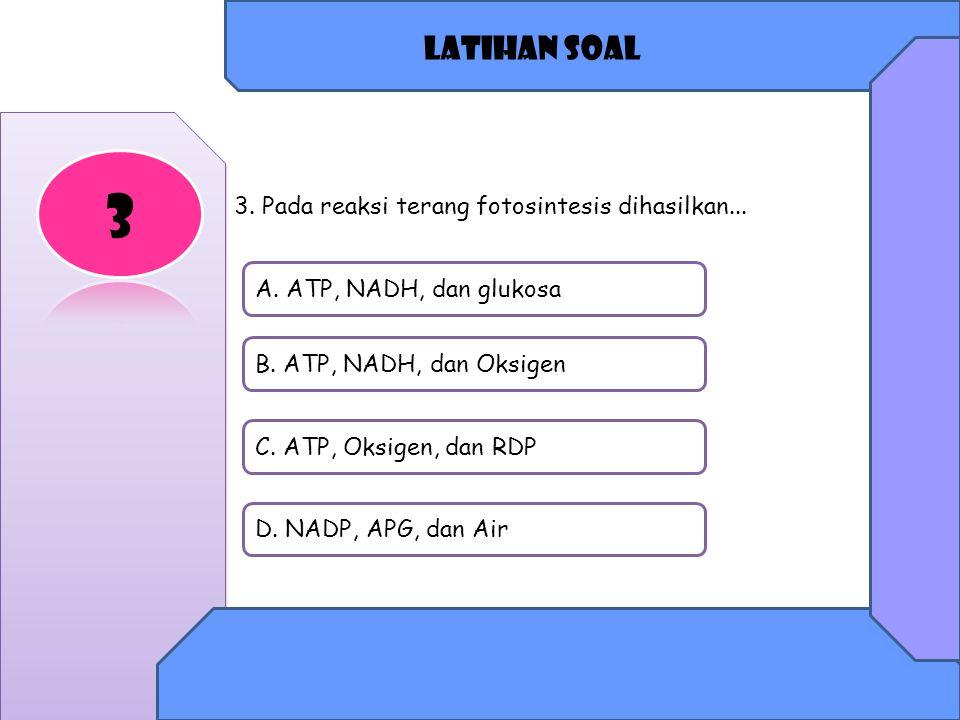 Latihan soal A.ATP, NADH, dan glukosa B. ATP, NADH, dan Oksigen C.