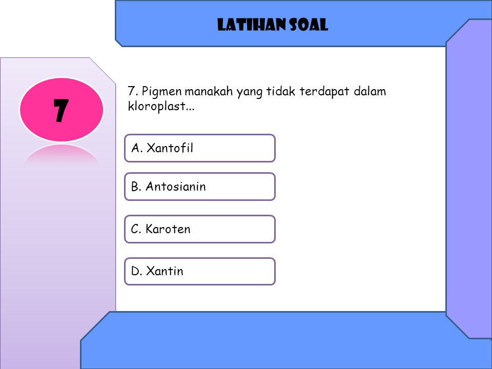 Latihan soal A.Xantofil B. Antosianin C. Karoten D.