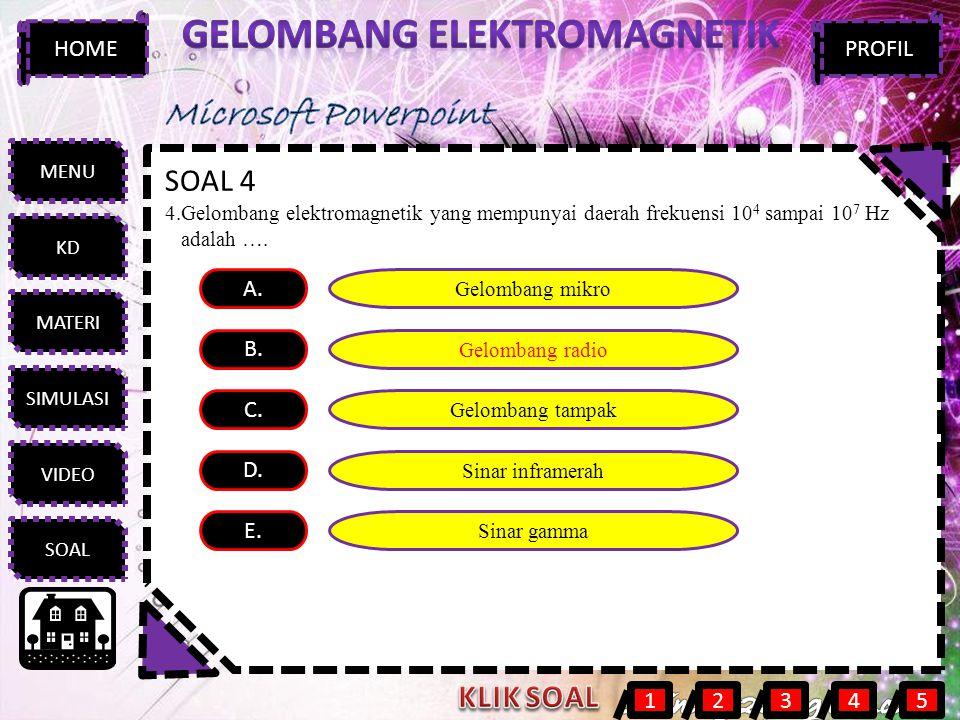 MENU KD MATERI SIMULASI VIDEO SOAL HOMEPROFIL SOAL 4 4.Gelombang elektromagnetik yang mempunyai daerah frekuensi 10 4 sampai 10 7 Hz adalah …. A. B. C