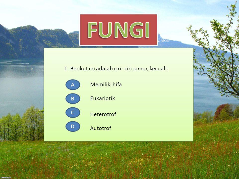 1. Berikut ini adalah ciri- ciri jamur, kecuali: A B C D Memiliki hifa Eukariotik Heterotrof Autotrof