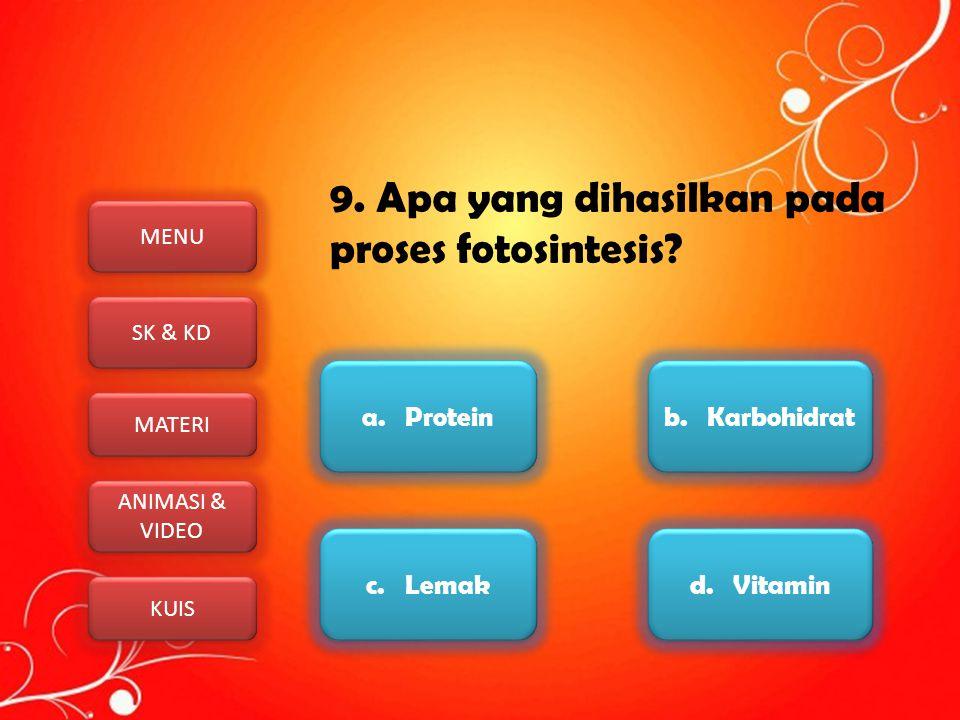 MENU SK & KD MATERI ANIMASI & VIDEO ANIMASI & VIDEO KUIS 9. Apa yang dihasilkan pada proses fotosintesis? a. Protein b. Karbohidrat c. Lemak d. Vitami