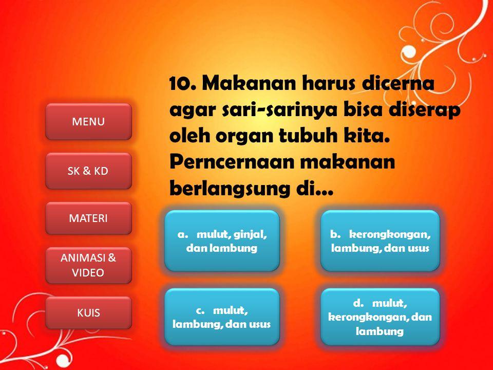 MENU SK & KD MATERI ANIMASI & VIDEO ANIMASI & VIDEO KUIS 10. Makanan harus dicerna agar sari-sarinya bisa diserap oleh organ tubuh kita. Perncernaan m