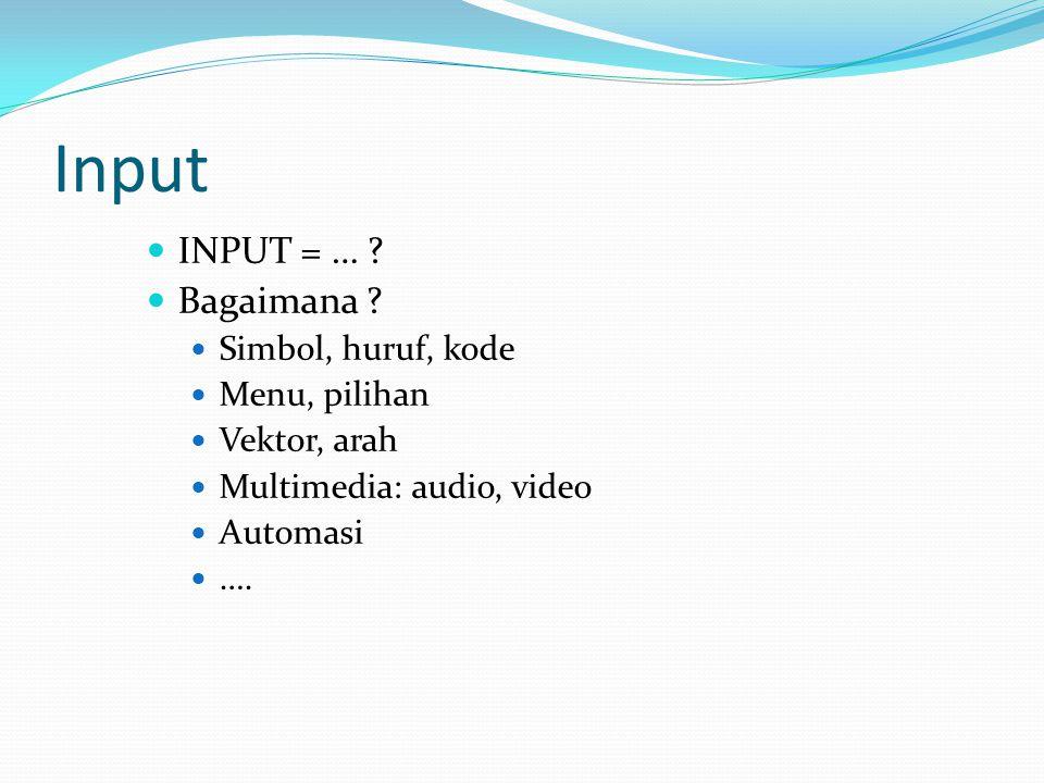 Input IINPUT = … ? BBagaimana ? SSimbol, huruf, kode MMenu, pilihan VVektor, arah MMultimedia: audio, video AAutomasi …….
