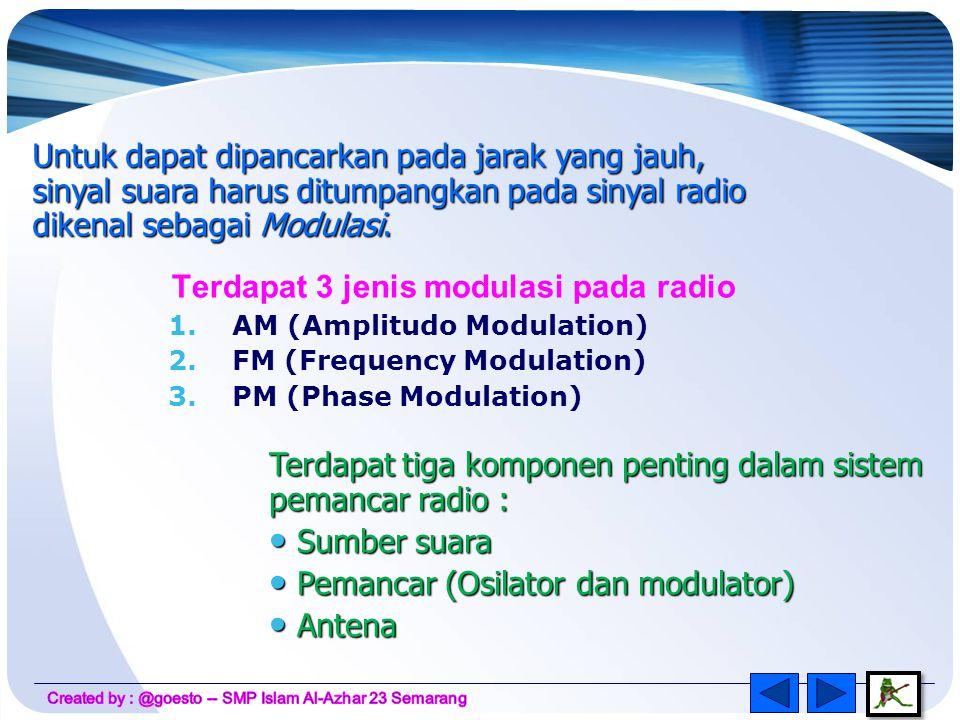 Radio Merupakan alat komunikasi yang mengirimkan suara melalui udara menggunakan gelombang elektromagnetik Radio broadcasting = radio yang digunakan sebagai alat komunikasi satu arah dengan tujuan komersil