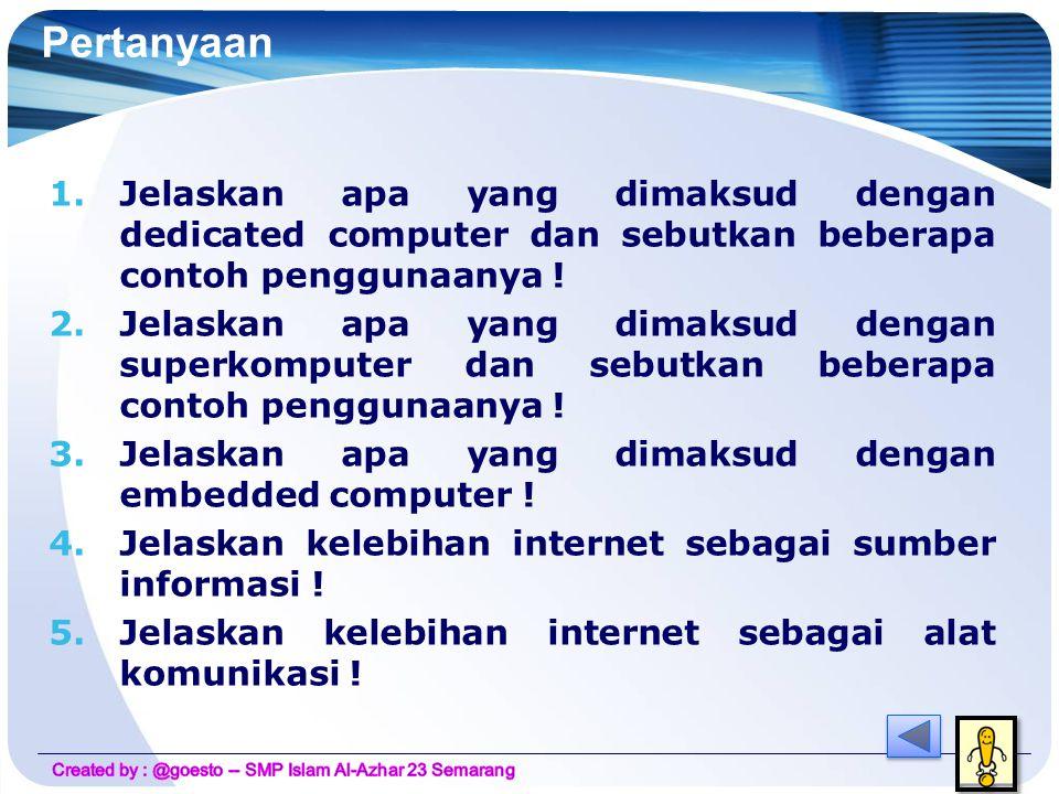 Kelebihan internet  Kita dapat berkomunikasi dengan orang diseluruh dunia menggunakan internet dalam waktu yang sangat cepat dan biaya murah.