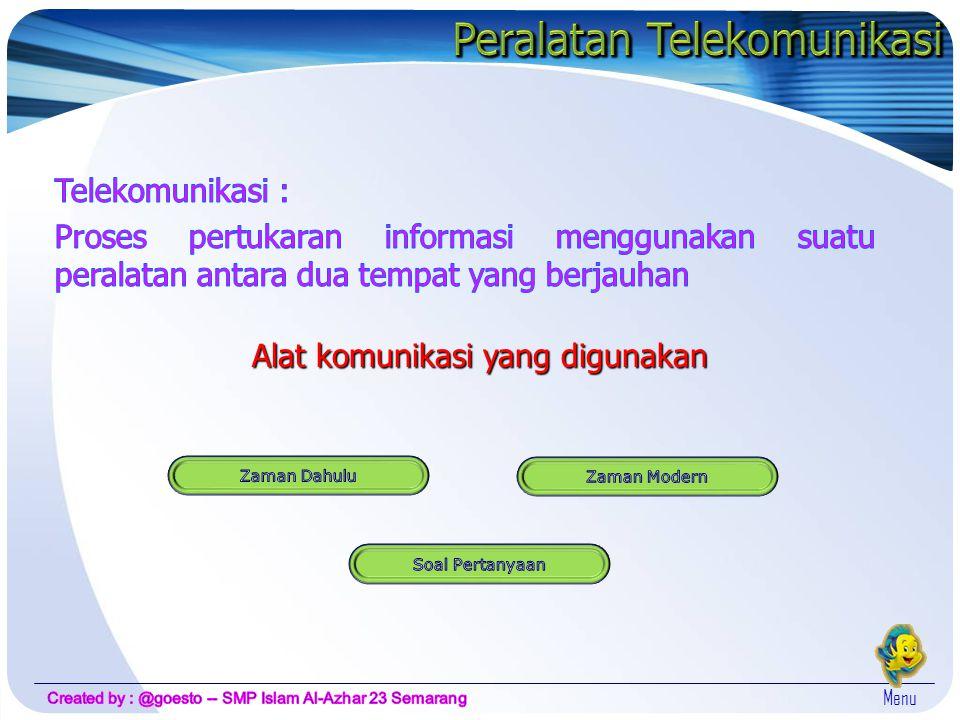 Alat komunikasi yang digunakan Menu