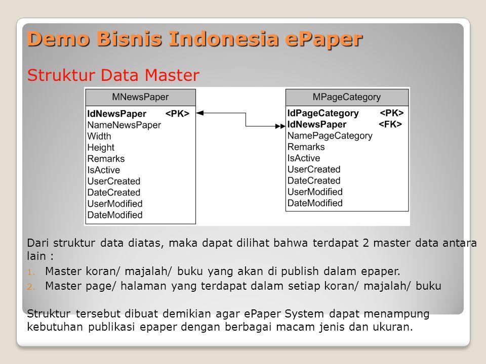Demo Bisnis Indonesia ePaper Struktur Data Master Dari struktur data diatas, maka dapat dilihat bahwa terdapat 2 master data antara lain : 1.