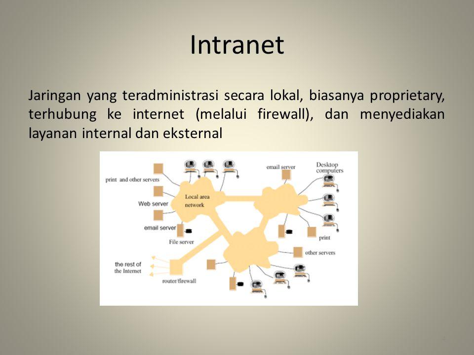 Intranet Jaringan yang teradministrasi secara lokal, biasanya proprietary, terhubung ke internet (melalui firewall), dan menyediakan layanan internal dan eksternal 4