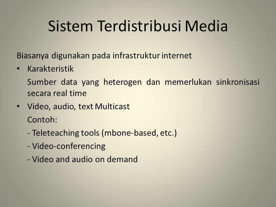 Sistem Terdistribusi Media Biasanya digunakan pada infrastruktur internet • Karakteristik Sumber data yang heterogen dan memerlukan sinkronisasi secara real time • Video, audio, text Multicast Contoh: - Teleteaching tools (mbone-based, etc.) - Video-conferencing - Video and audio on demand 5