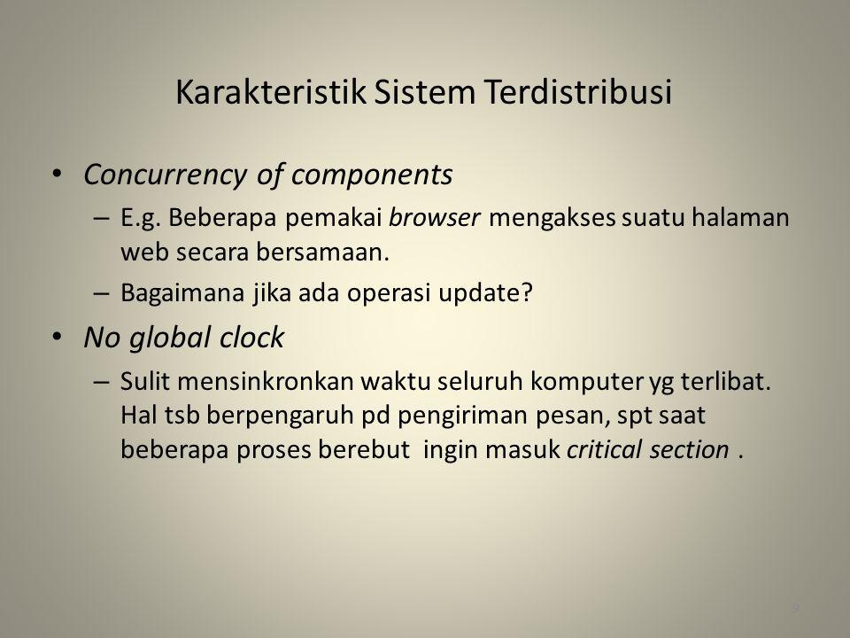 Karakteristik Sistem Terdistribusi • Concurrency of components – E.g.
