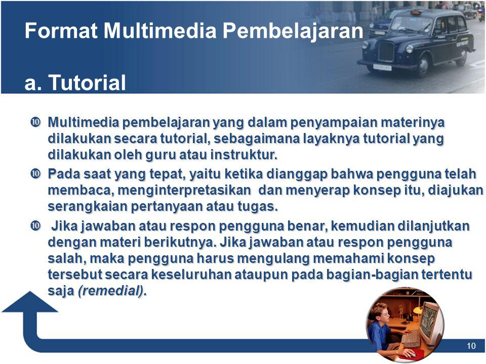 Format Multimedia Pembelajaran a. Tutorial  Multimedia pembelajaran yang dalam penyampaian materinya dilakukan secara tutorial, sebagaimana layaknya