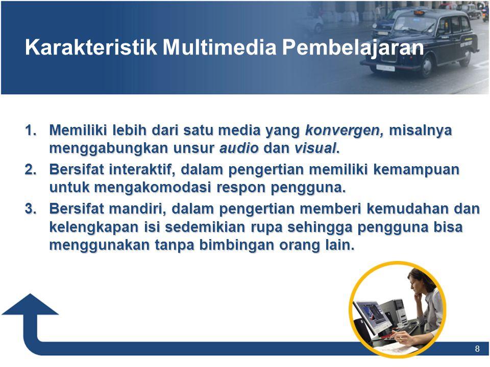 Karakteristik Multimedia Pembelajaran 1.Memiliki lebih dari satu media yang konvergen, misalnya menggabungkan unsur audio dan visual. 2.Bersifat inter