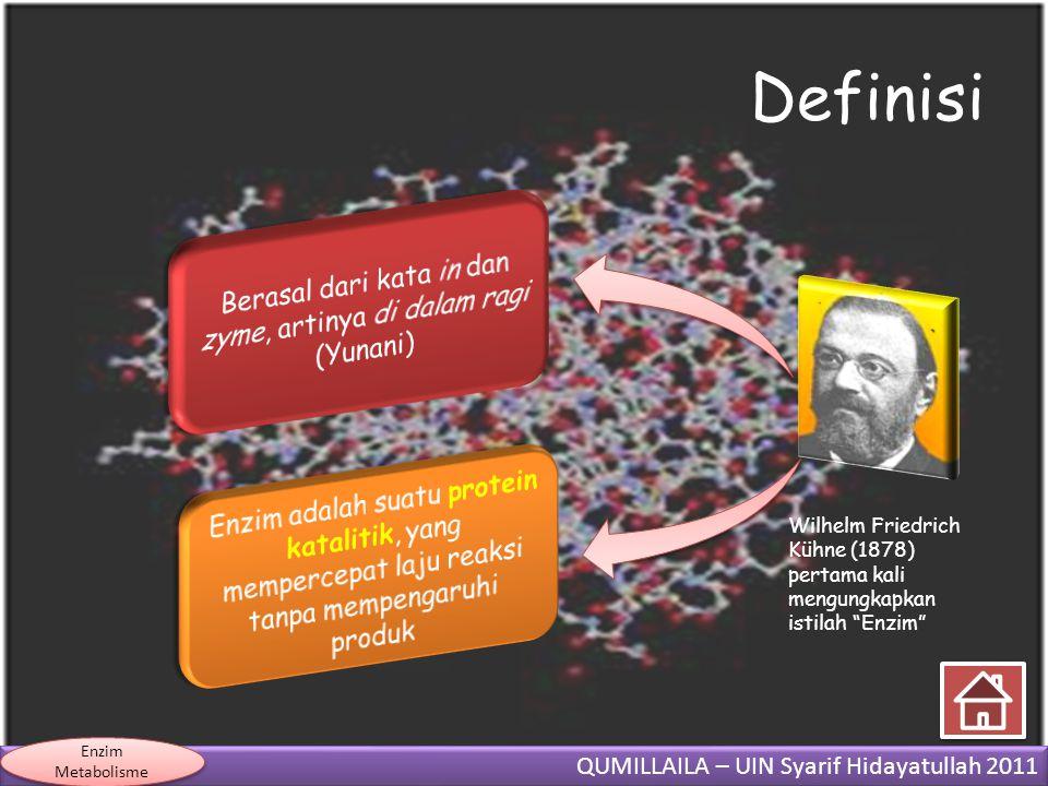 "QUMILLAILA – UIN Syarif Hidayatullah 2011 Enzim Metabolisme Definisi Wilhelm Friedrich Kühne (1878) pertama kali mengungkapkan istilah ""Enzim"""