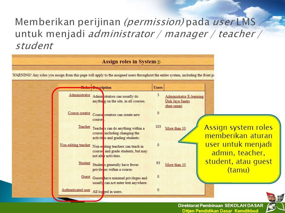 Direktorat Pembinaan SEKOLAH DASAR Ditjen Pendidikan Dasar Kemdikbud Assign system roles memberikan aturan user untuk menjadi admin, teacher, student,