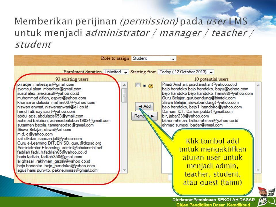 Direktorat Pembinaan SEKOLAH DASAR Ditjen Pendidikan Dasar Kemdikbud Klik tombol add untuk mengaktifkan aturan user untuk menjadi admin, teacher, stud
