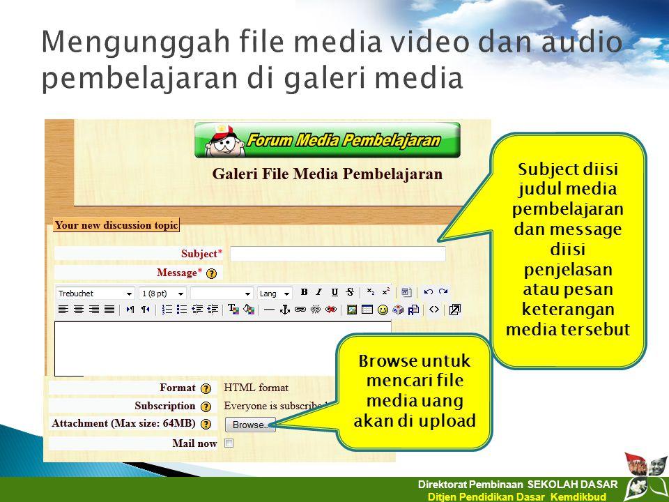 Direktorat Pembinaan SEKOLAH DASAR Ditjen Pendidikan Dasar Kemdikbud Subject diisi judul media pembelajaran dan message diisi penjelasan atau pesan ke
