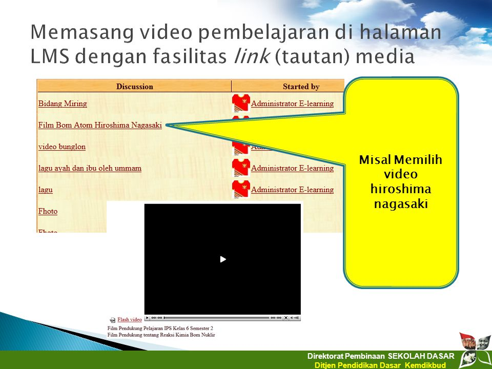 Direktorat Pembinaan SEKOLAH DASAR Ditjen Pendidikan Dasar Kemdikbud Misal Memilih video hiroshima nagasaki