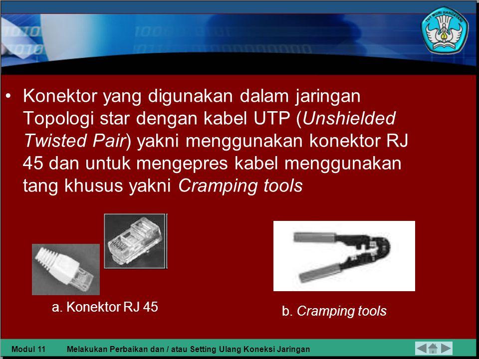 b) Kabel dan Konektor Kabel yang digunakan dalam Jaringan dengan topologi star adalah UTP (Unshielded Twisted Pair).