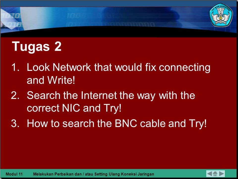 Tugas 2 1.Look Network that would fix connecting and Write.