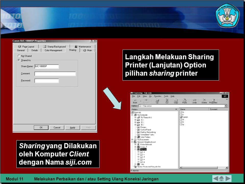Langkah Melakuan Sharing Printer a.Start setting printer b.
