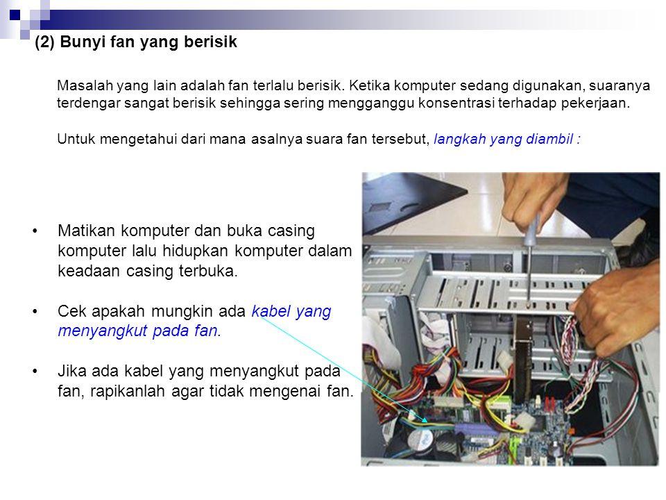 c) Fan Fan merupakan periferal yang sangat penting bagi komputer. Fan sangat berpengaruh pada kinerja komputer karena berhubungan dengan sirkulasi uda