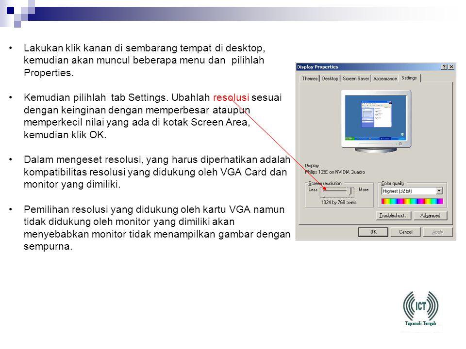 •Lakukan booting windows dalam keadaan safe mode dengan cara menekan F8 saat komputer loading windows. •Lakukan instalasi ulang driver VGA Card. Setel
