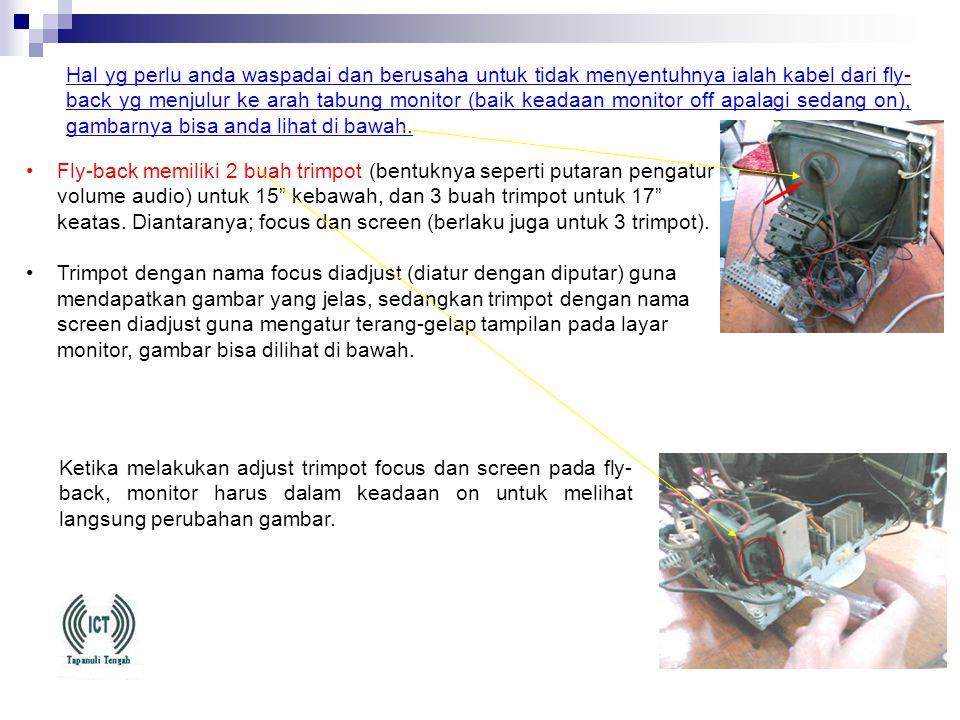 (4) Tampilan pada monitor tampak buram. •Mengatasi monitor CRT yang tampilannya buram, terlalu cerah dan kurang cerah. •Tampilan gambar di layar monit