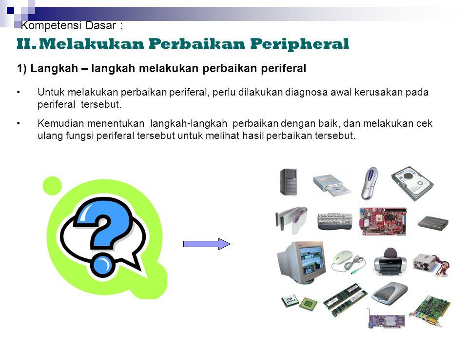 d) Penyedot debu mini •Penyedot debu mini fungsinya hampir sama dengan kuas, yaitu untuk menghilangkan kotoran yang menempel pada periferal. •Pada uju
