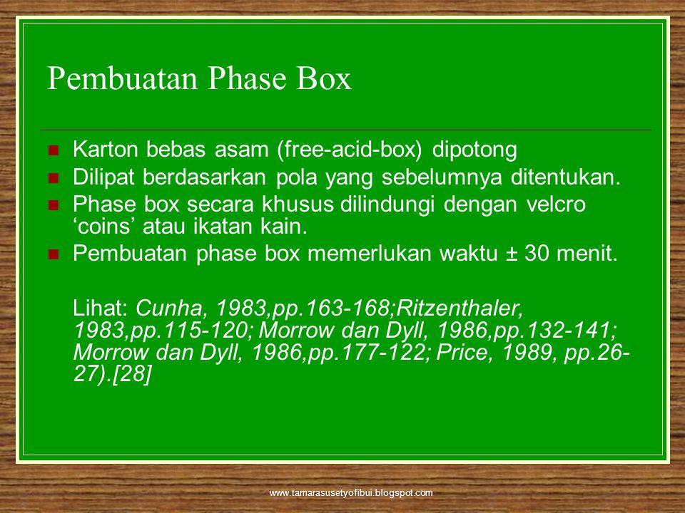 www.tamarasusetyofibui.blogspot.com Pembuatan Phase Box  Karton bebas asam (free-acid-box) dipotong  Dilipat berdasarkan pola yang sebelumnya ditent