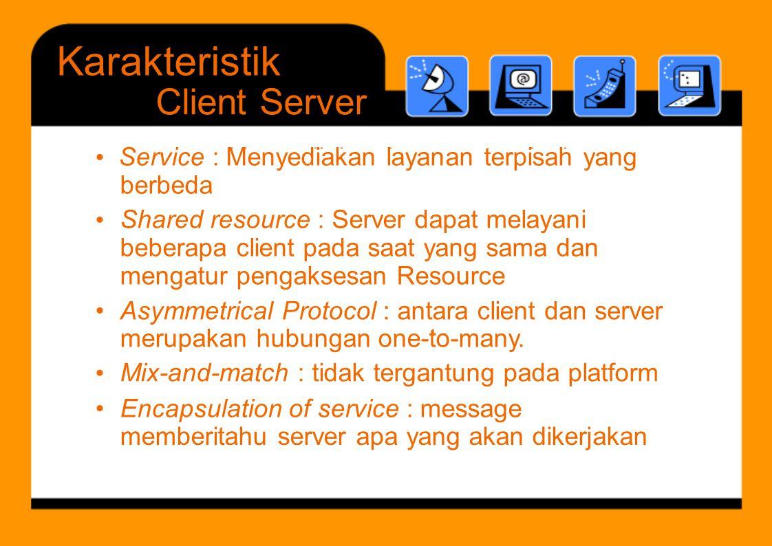 M di k l t i h S d t l i to Karakteristik Client Server mengatur pengaksesan Resource • Asymmetrical Protocol : antara client merupakan hubungan one-t