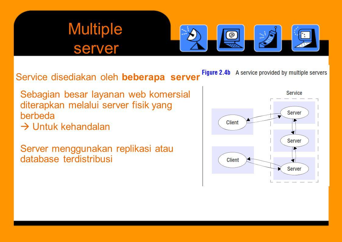 Multiple Sebagian besar layanan web komersial diterapkan melalui server fisik yang berbeda  Untuk kehandalan Server menggunakan replikasi atau databa