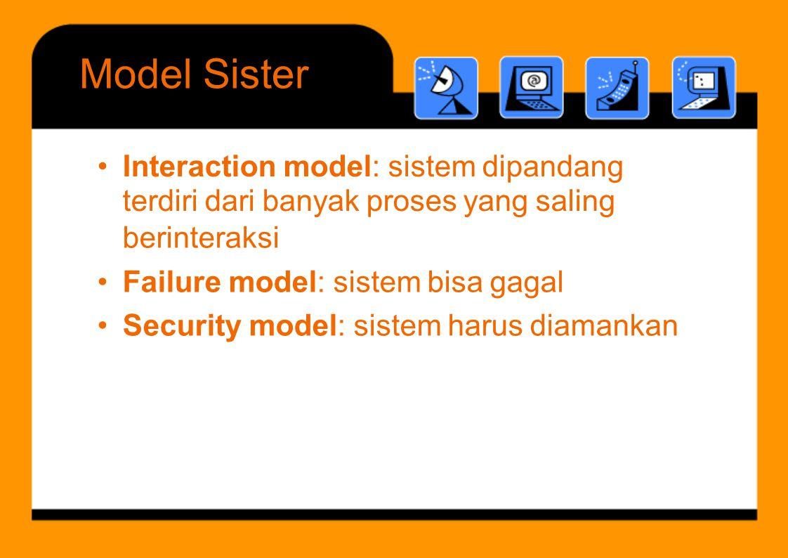Failure model ModelSister •Interaction model: sistem dipandang terdiri dari banyak proses yang saling berinteraksi • Failure model: sistem bisa gagal