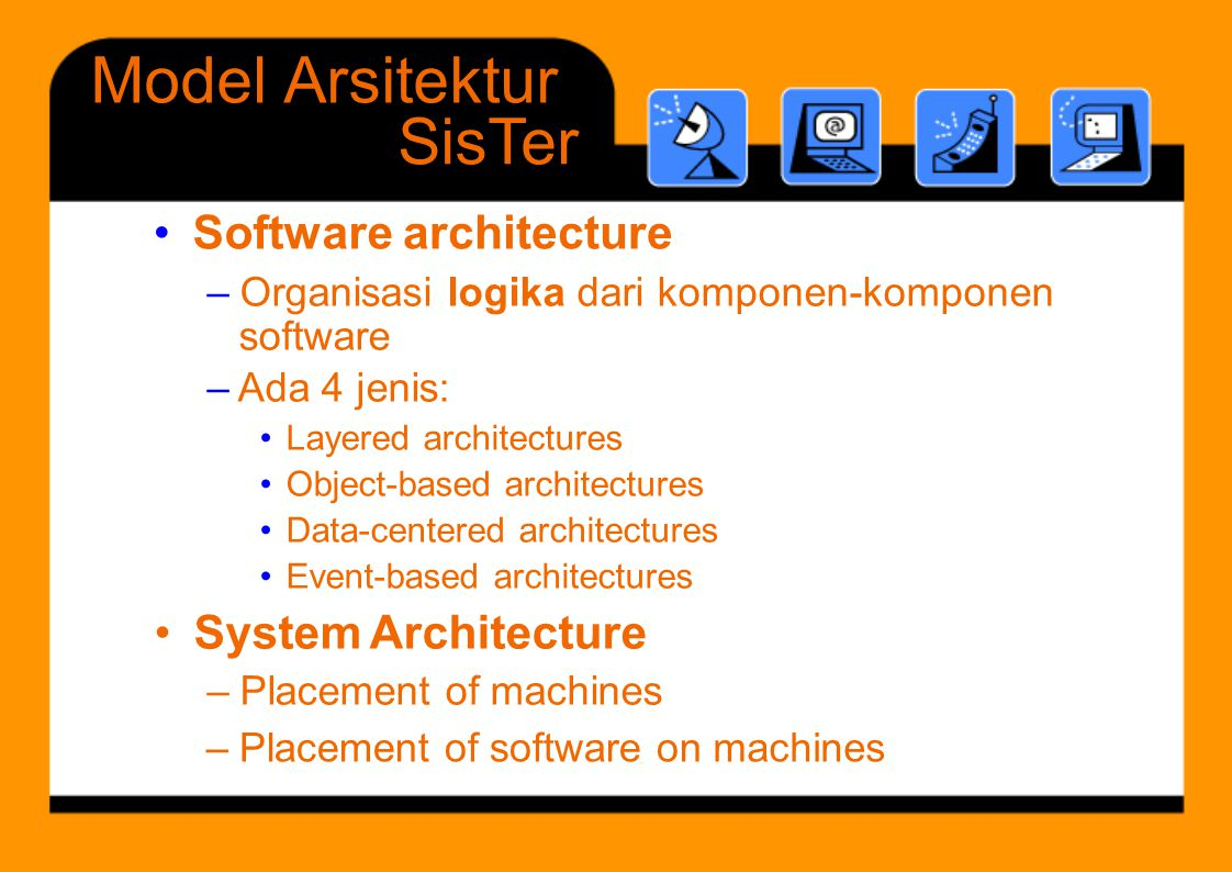 Softwarearchitecture Layeredsystem -Breaking up the complexity of systems by designing them through layers and services -layer: group of closely related and highly coherent functionalities service: functionality provided to a superior layer - -Examples of layered architectures -computer network protocol architectures - operating systems (kernel, other services),
