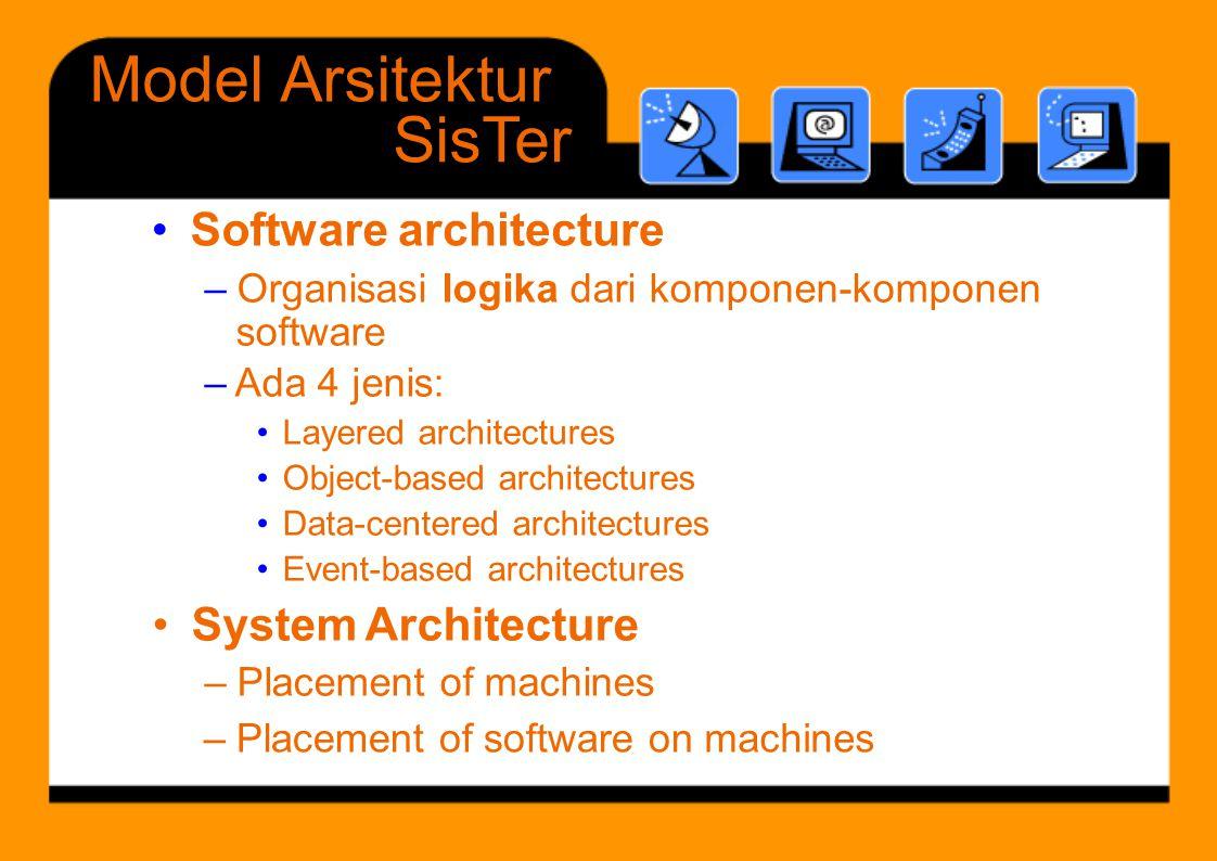 Layered architectures • ModelArsitektur SisTer •Softwarearchitecture – Placement of software onmachines – Organisasi logika dari komponen-komponen sof