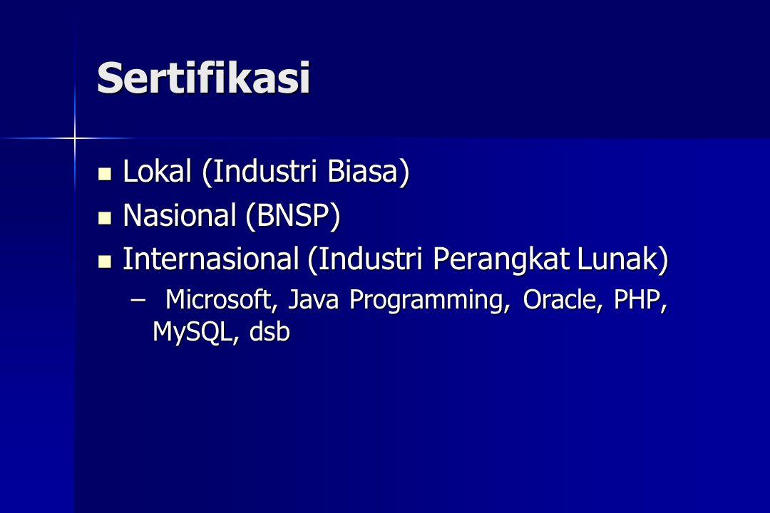 Sertifikasi  Lokal (Industri Biasa)  Nasional (BNSP)  Internasional (Industri Perangkat Lunak) –Microsoft, Java Programming, Oracle, PHP, MySQL, ds