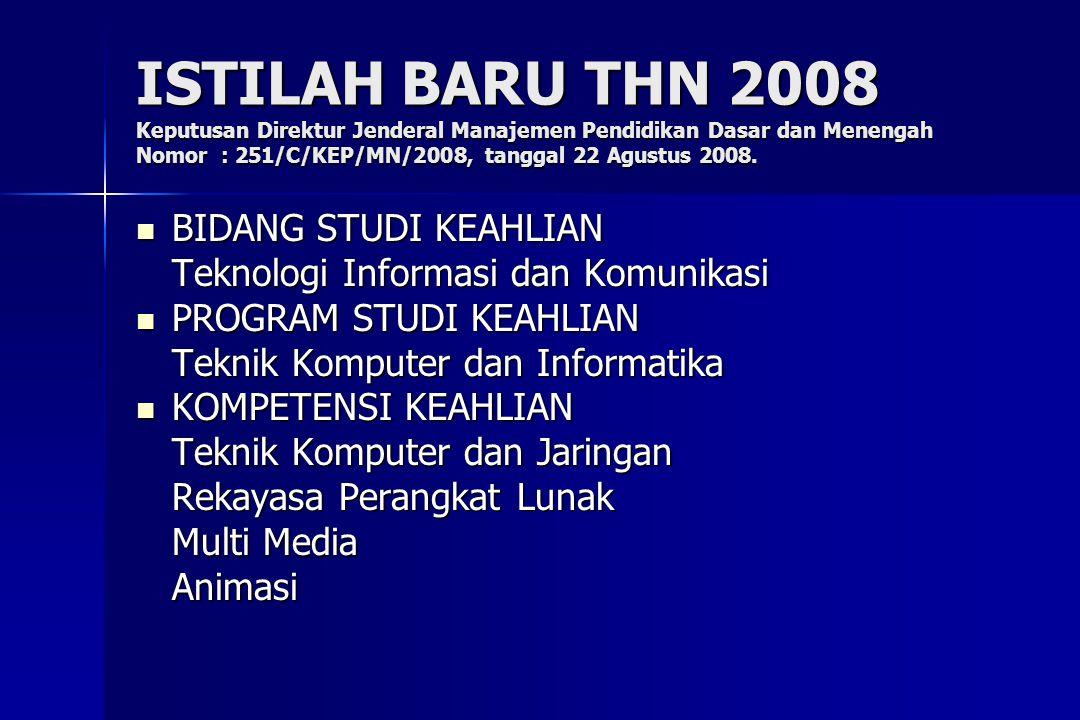 ISTILAH BARU THN 2008 Keputusan Direktur Jenderal Manajemen Pendidikan Dasar dan Menengah Nomor : 251/C/KEP/MN/2008, tanggal 22 Agustus 2008.  BIDANG