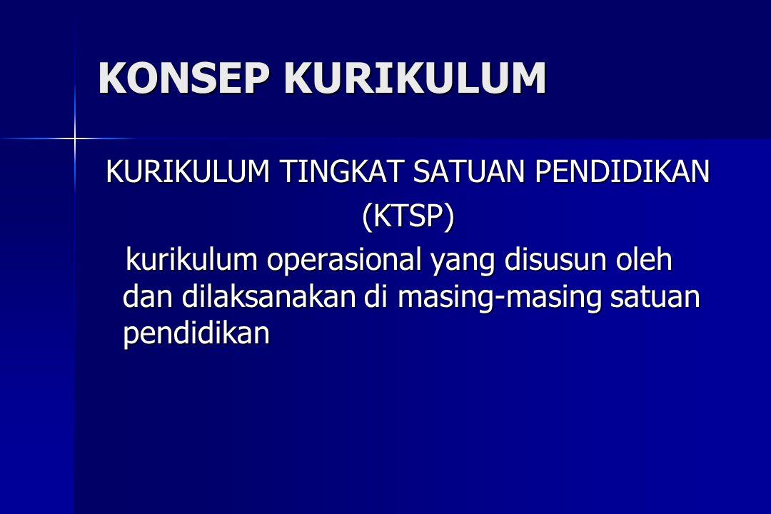 KONSEP KURIKULUM KURIKULUM TINGKAT SATUAN PENDIDIKAN (KTSP) kurikulum operasional yang disusun oleh dan dilaksanakan di masing-masing satuan pendidika