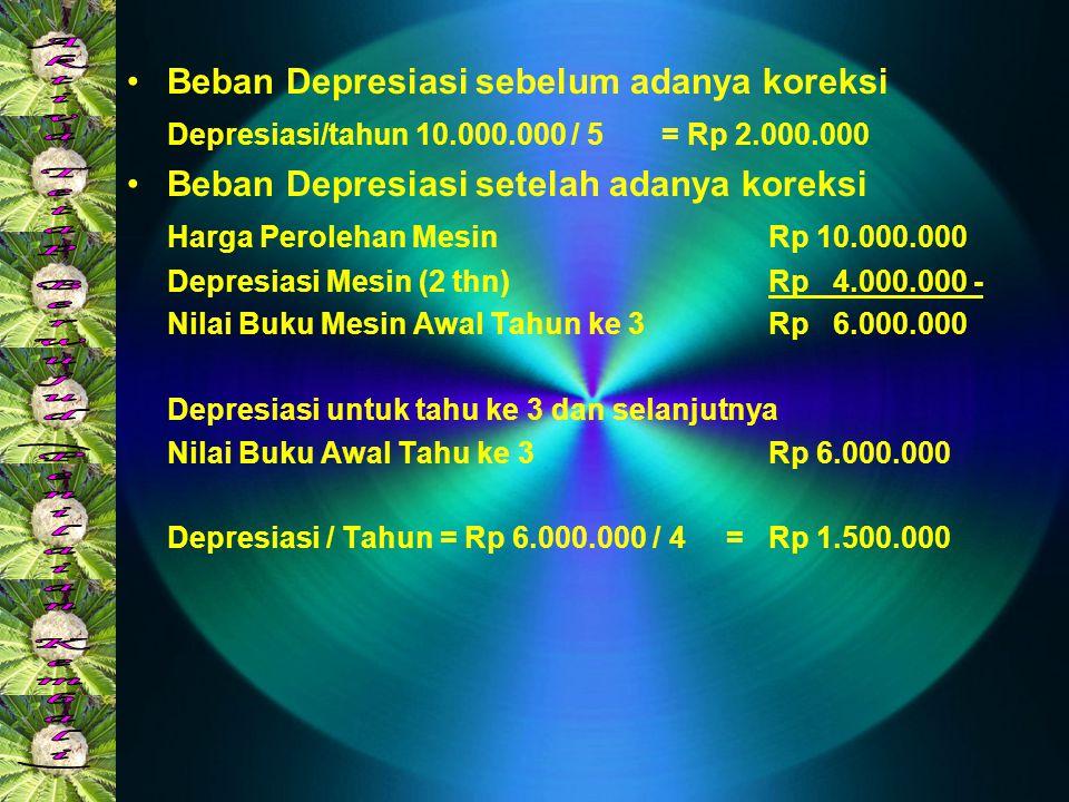 •Beban Depresiasi sebelum adanya koreksi Depresiasi/tahun 10.000.000 / 5 = Rp 2.000.000 •Beban Depresiasi setelah adanya koreksi Harga Perolehan Mesin