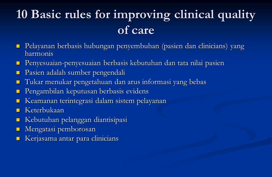 10 Basic rules for improving clinical quality of care  Pelayanan berbasis hubungan penyembuhan (pasien dan clinicians) yang harmonis  Penyesuaian-penyesuaian berbasis kebutuhan dan tata nilai pasien  Pasien adalah sumber pengendali  Tukar menukar pengetahuan dan arus informasi yang bebas  Pengambilan keputusan berbasis evidens  Keamanan terintegrasi dalam sistem pelayanan  Keterbukaan  Kebutuhan pelanggan diantisipasi  Mengatasi pemborosan  Kerjasama antar para clinicians