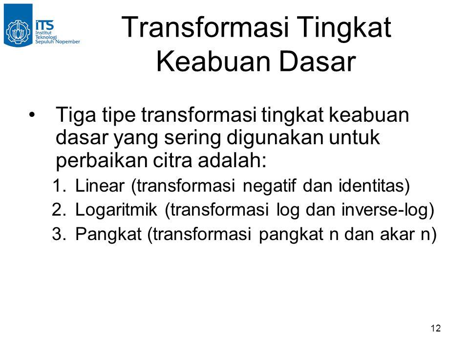 12 Transformasi Tingkat Keabuan Dasar •Tiga tipe transformasi tingkat keabuan dasar yang sering digunakan untuk perbaikan citra adalah: 1.Linear (tran