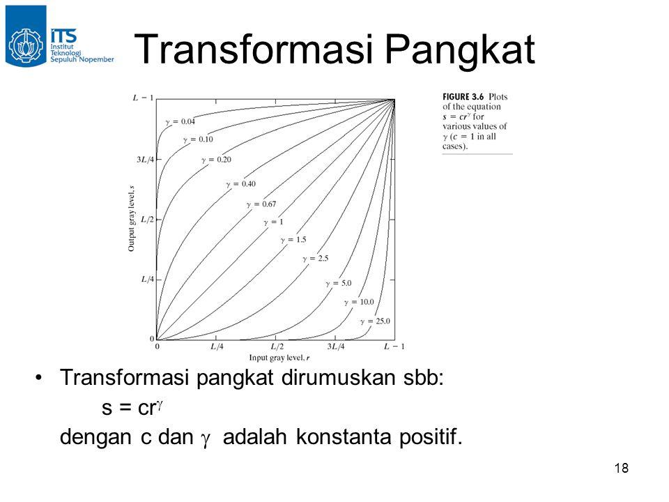 18 Transformasi Pangkat •Transformasi pangkat dirumuskan sbb: s = cr  dengan c dan  adalah konstanta positif.