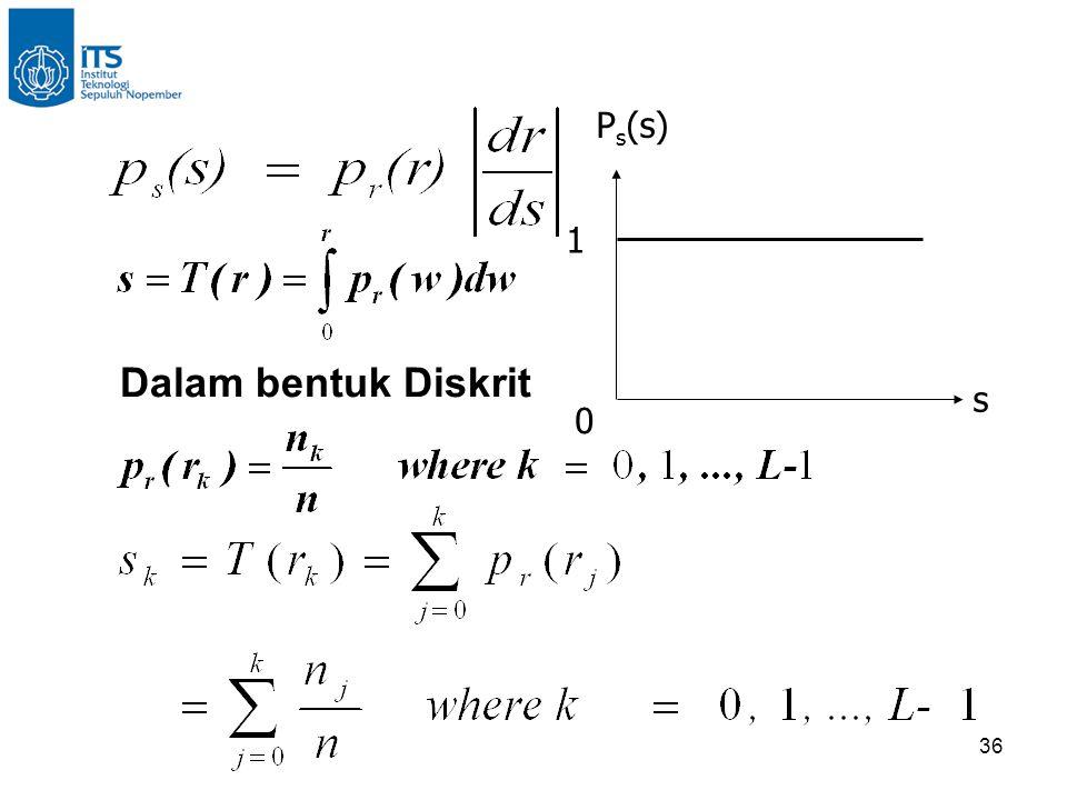 36 0 1 s P s (s) Dalam bentuk Diskrit